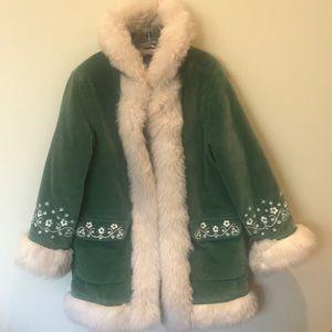 Beautiful Gap kids girl velvet green coat